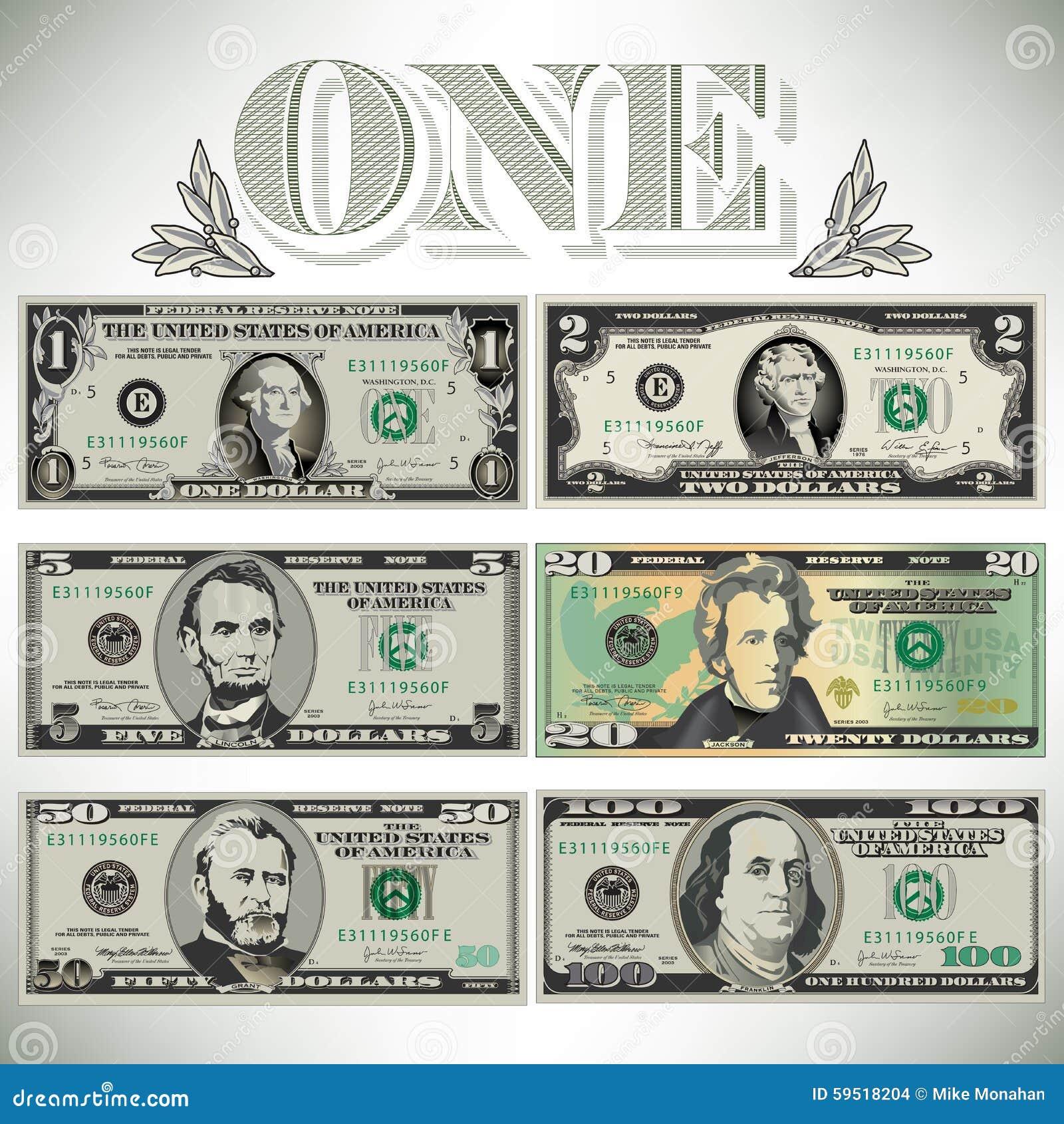 Sechs einzeln aufgeführt, stilisierte Zeichnungen von Rechnungen