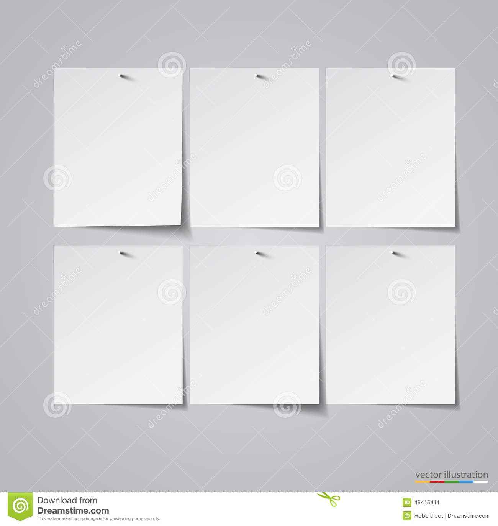 Download Sechs Emty Papieraufkleber Auf Nägeln Vektor Vektor Abbildung - Illustration von geschäft, seite: 49415411