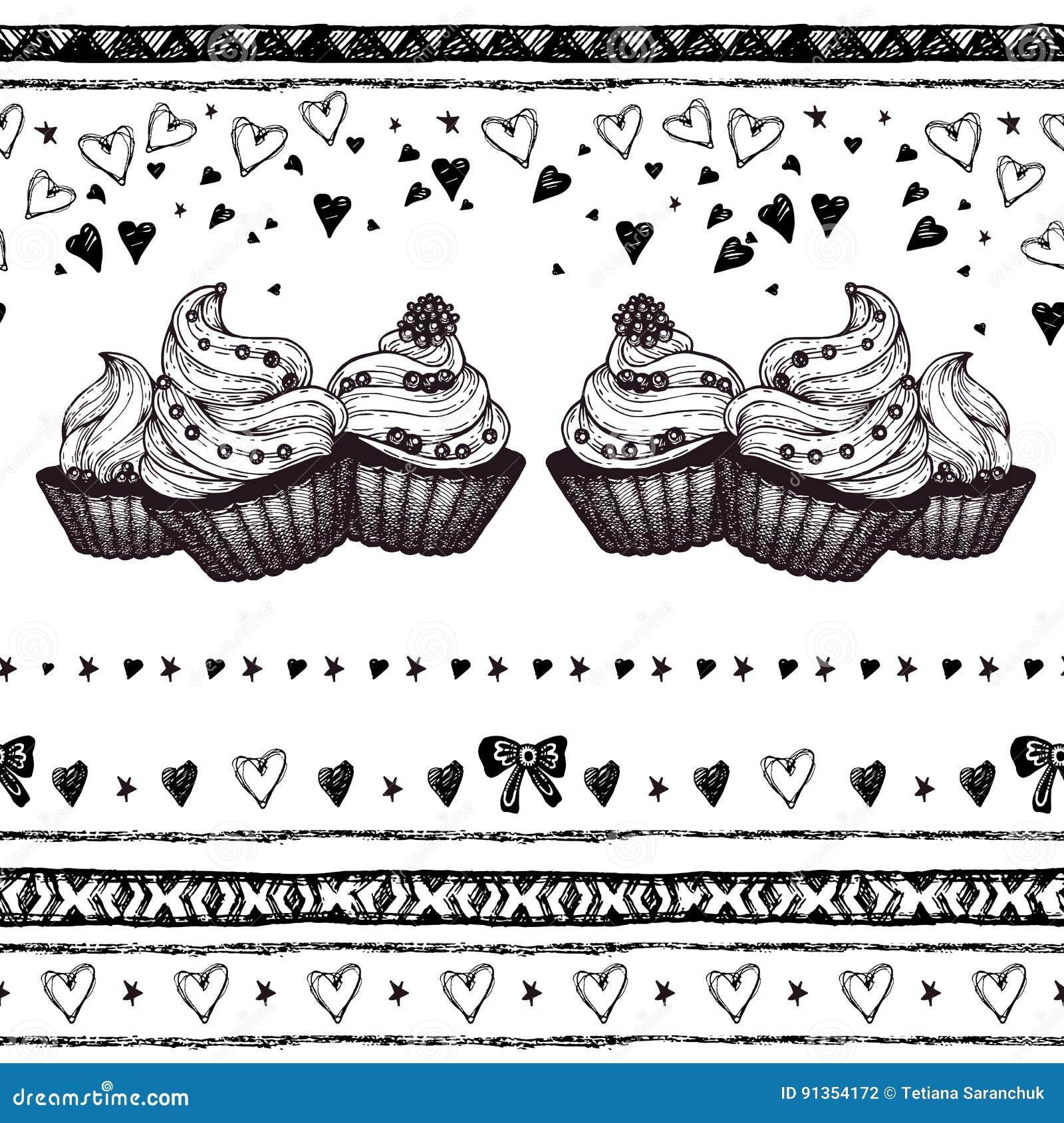 Sechs Hand Der Kleinen Kuchen Gezeichnet In Weinlese Gravierte Art