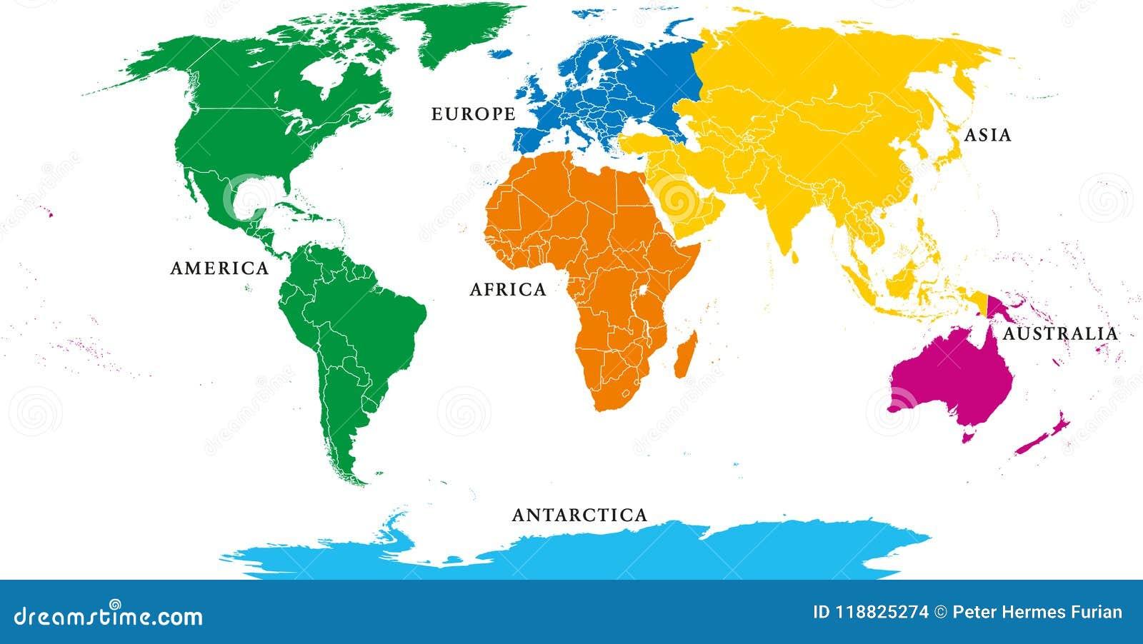 Sechs Kontinente Politische Weltkarte Mit Grenzen Vektor