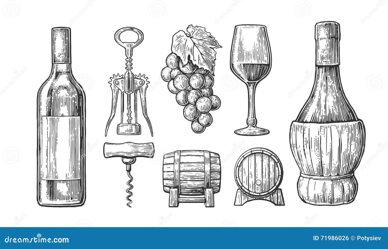 Sechs Weinflaschen und sieben Gläser für weißen Wein Flasche, Glas, Korkenzieher, Fass, Weintraube Schwarze Weinlese gravierte Ve