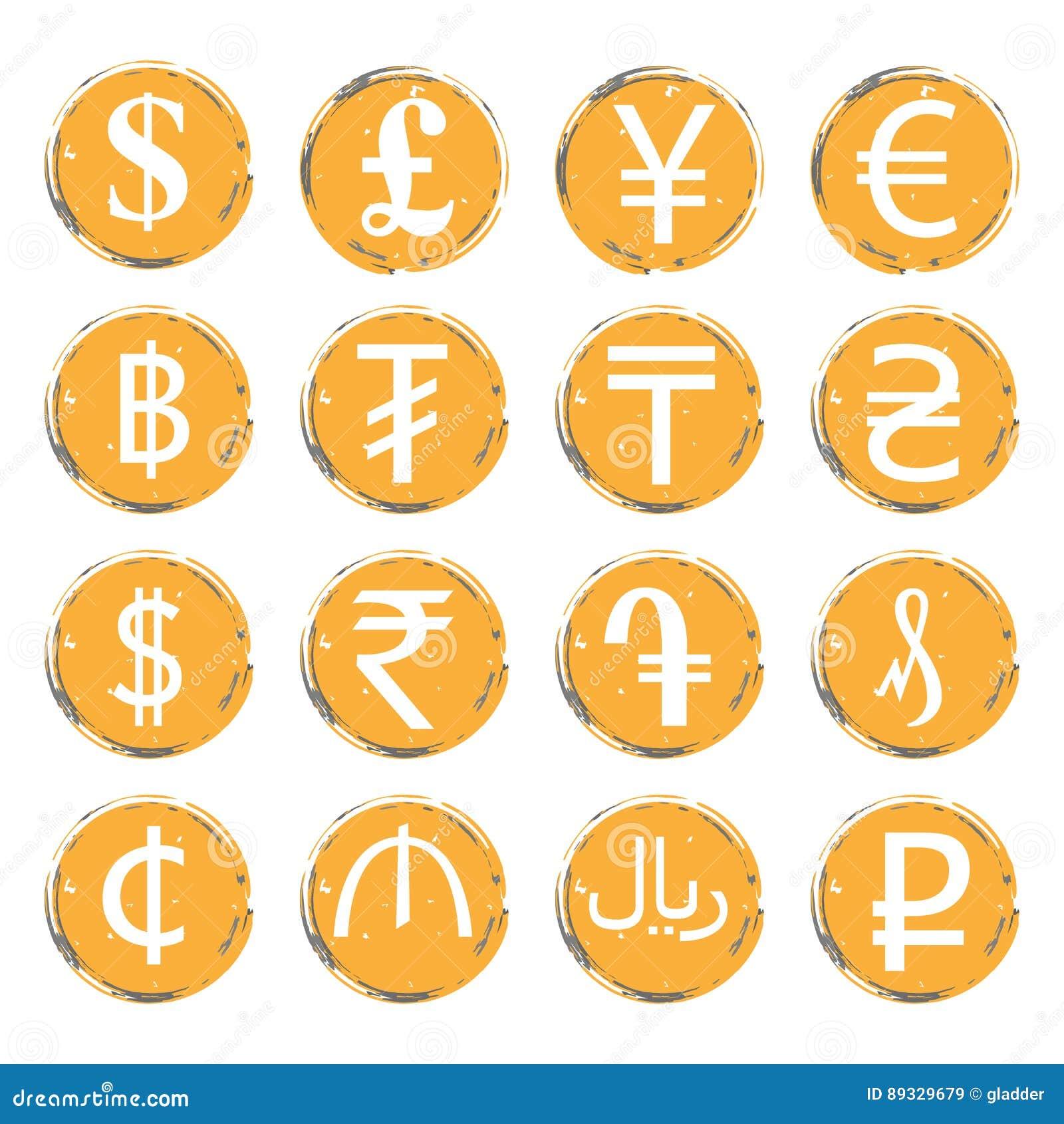 Sechzehn Gelb Graue Schmutzikonen Mit Weißen Bildern Von Modernen  Währungszeichen Von Verschiedenen Ländern, Für