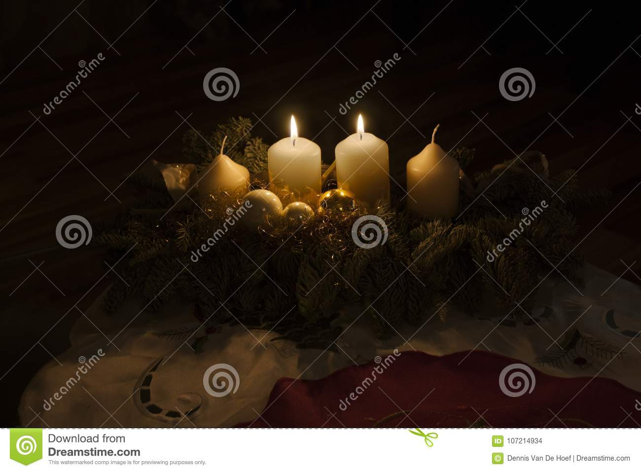 Second advent candles burning.