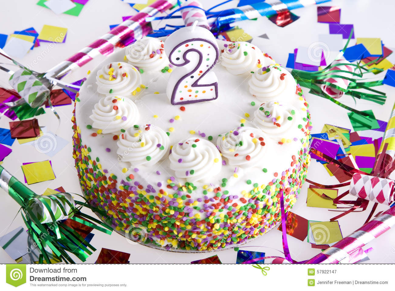 Second Birthday Cake Stock Image Image Of White Number 57922147
