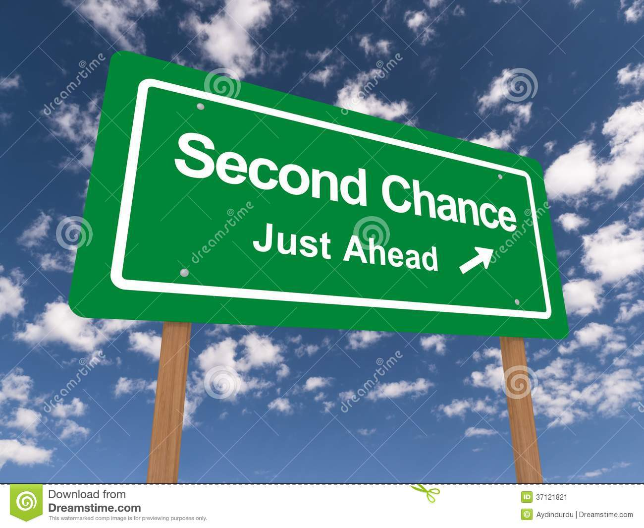 Second Chance Just Ahead Sign Stock Image Image 37121821