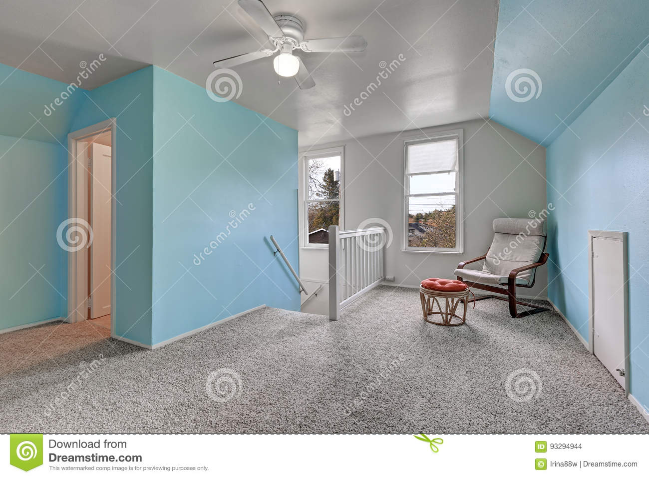 Second Floor Landing With Blue Walls Stock Photo Image Of Home Interior 93294944