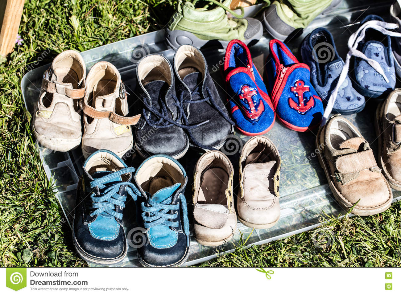 second hand baby and child shoes for reusing or recycling