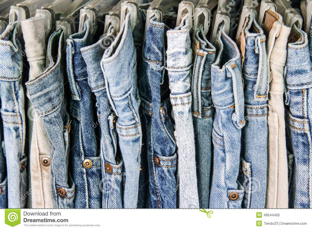 Second Hand Jeans On A Rack Stock Photo