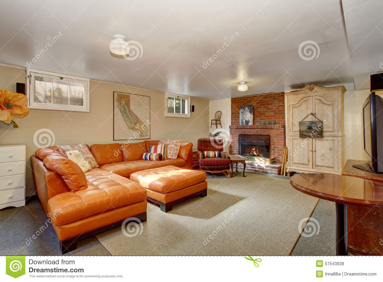 living room with orange couch secondary living room with orange stock photo 21066