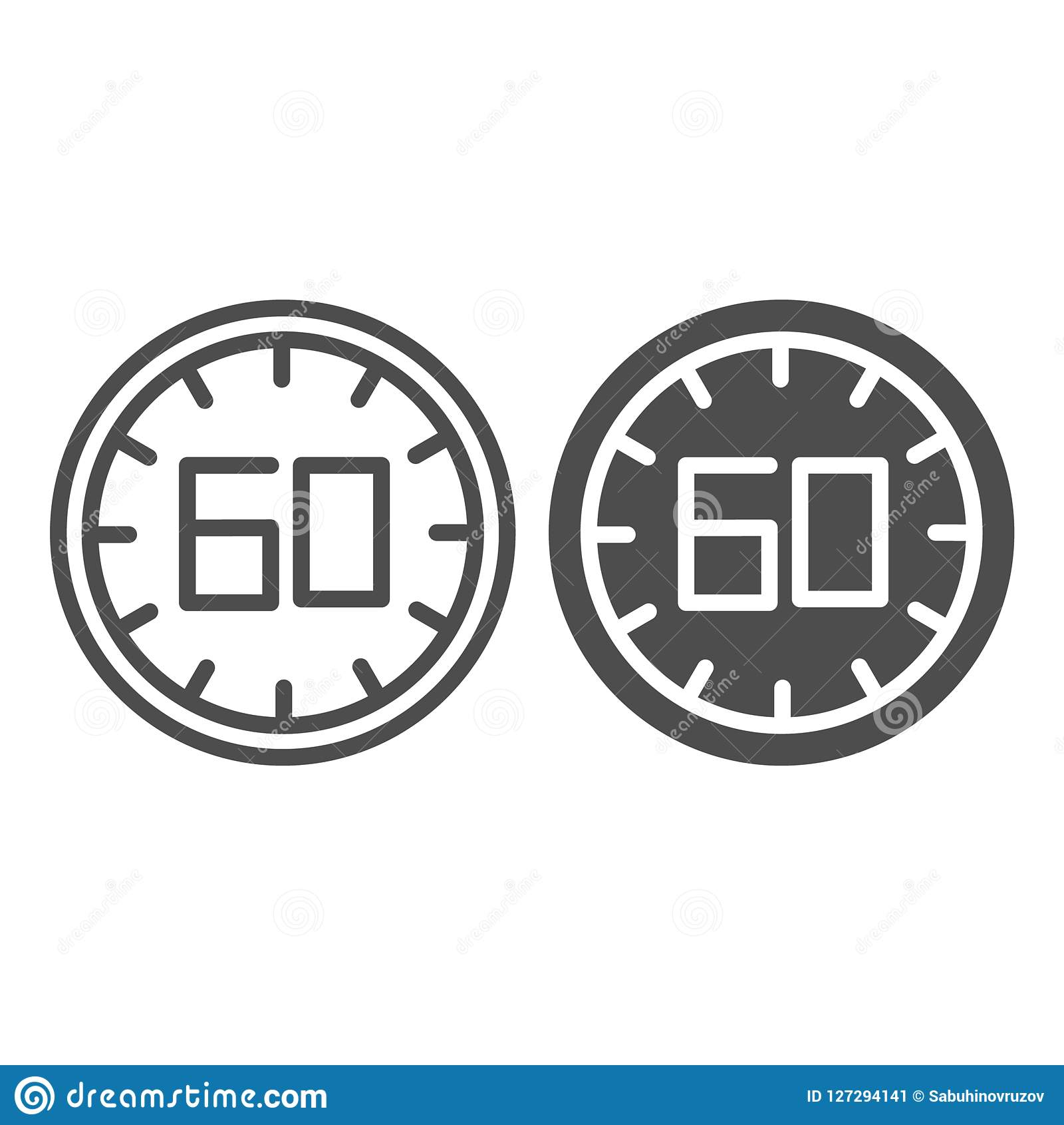 60 seconds line and glyph icon. 60 minutes time vector illustration isolated on white. One hour outline style design