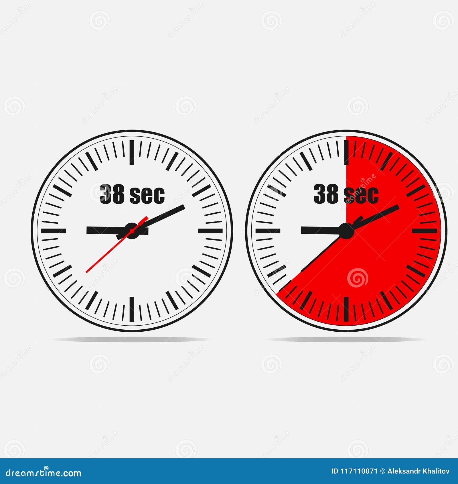 38 seconds timer on gray background stock illustration