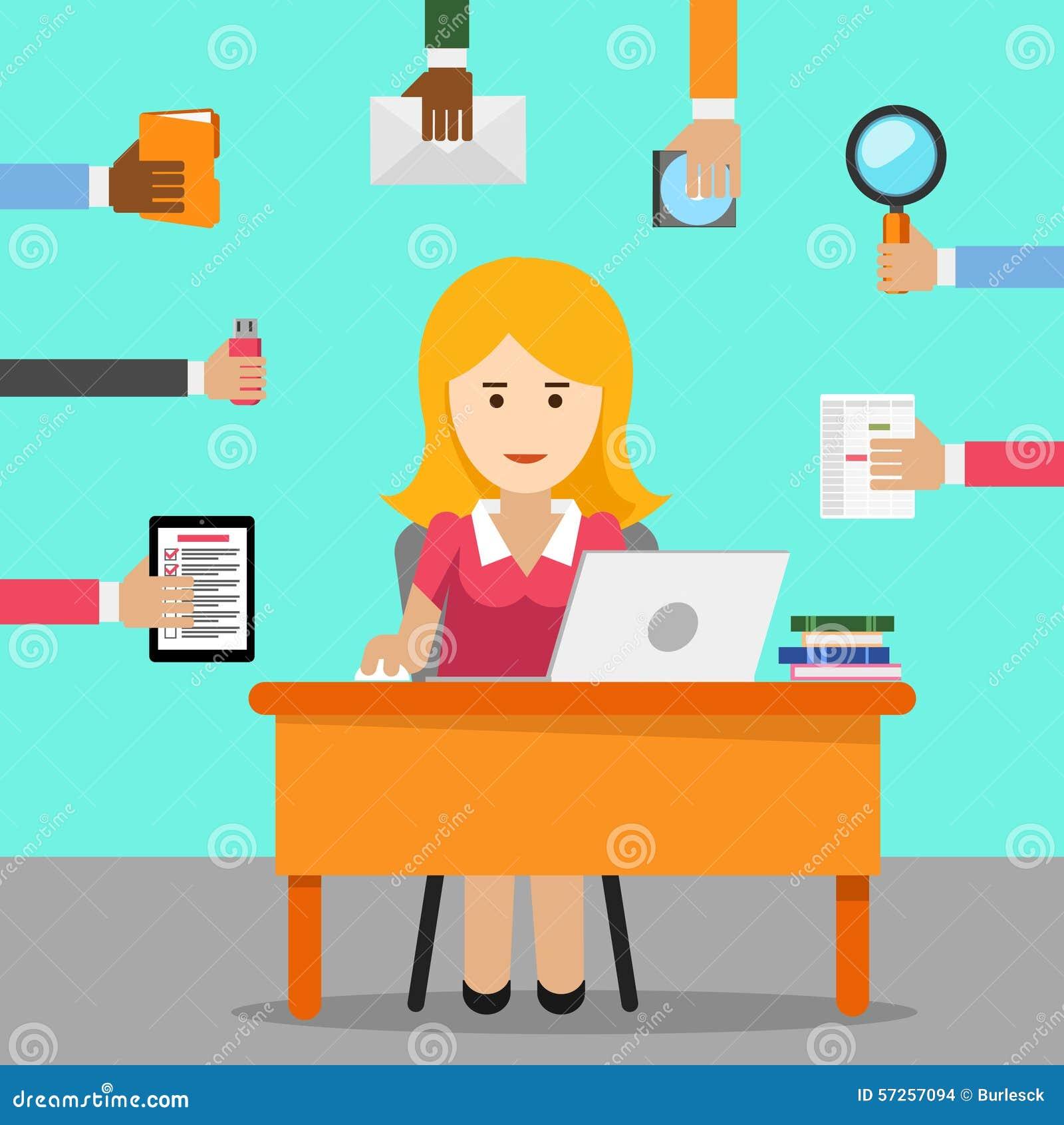 Secr taire femme occup e pour le travail de bureau illustration de vecteur image 57257094 for Photos gratuites travail bureau