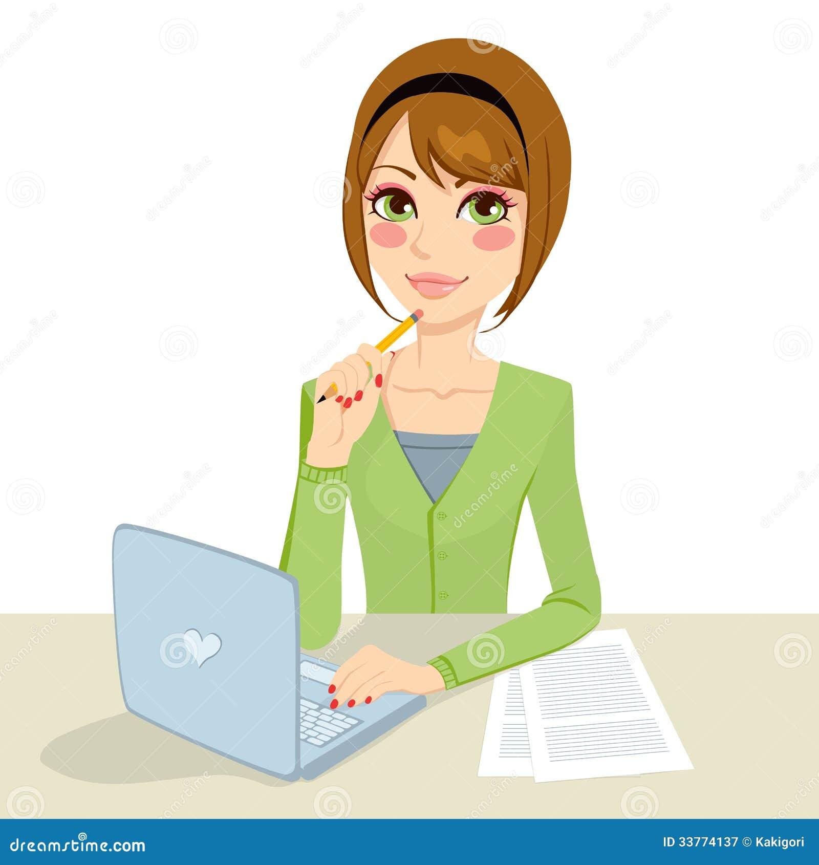 Secr taire songeur de brune illustration de vecteur - Secretaire ordinateur ...