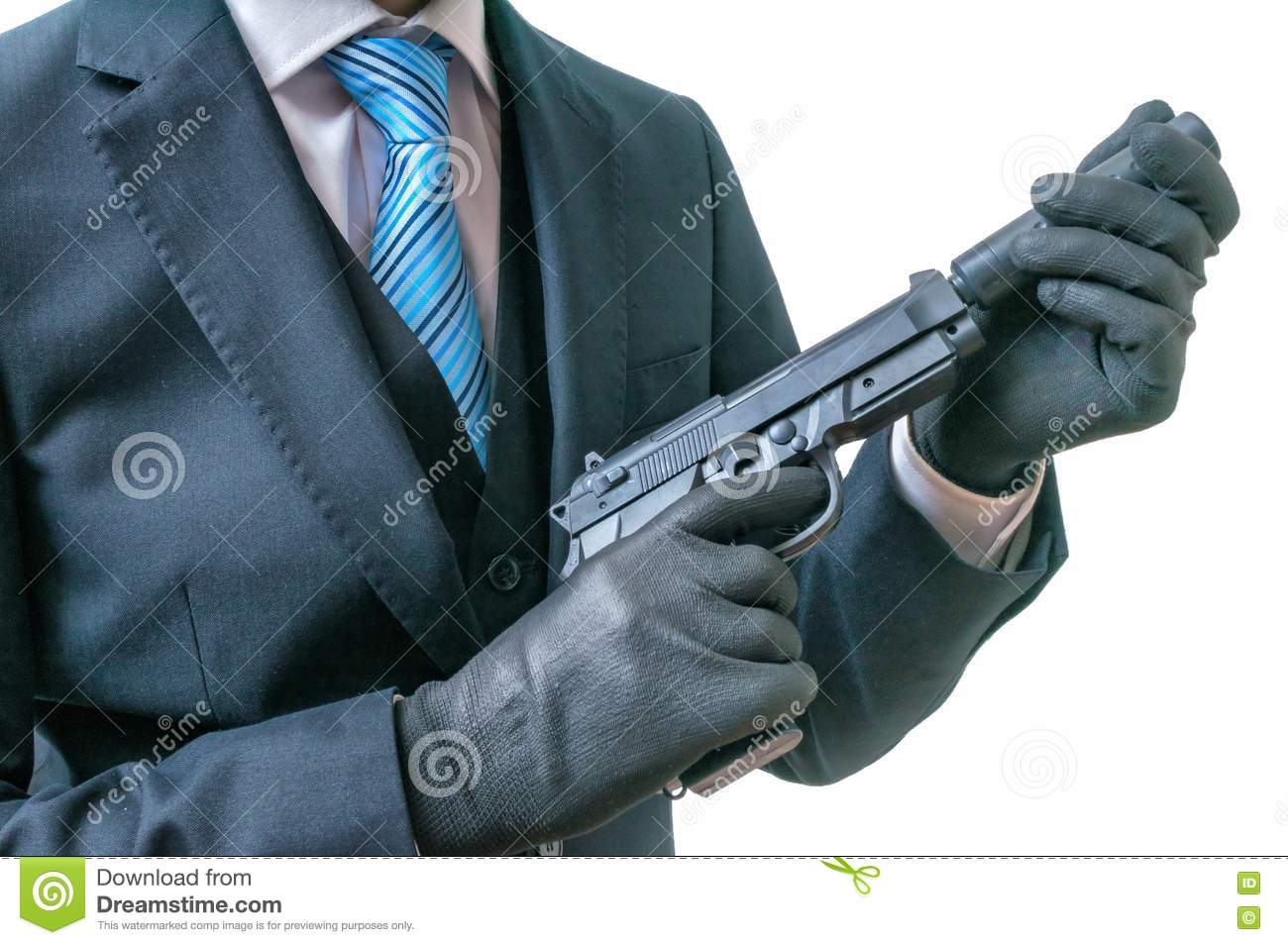 secret agent or spy holds pistol with silencer in hands isolated on