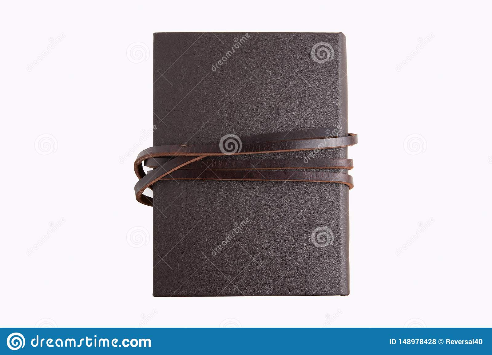 Secret brown leather book with white background