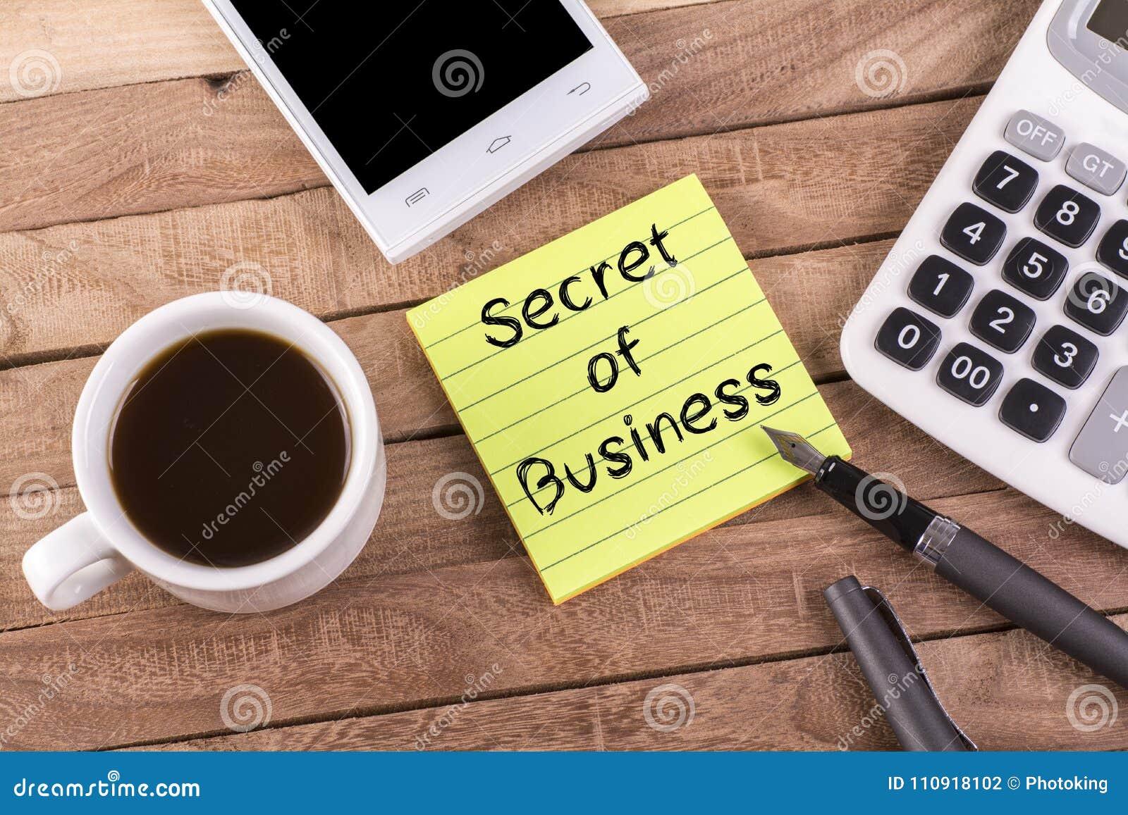 Secret of business on memo stock photo  Image of calculator - 110918102