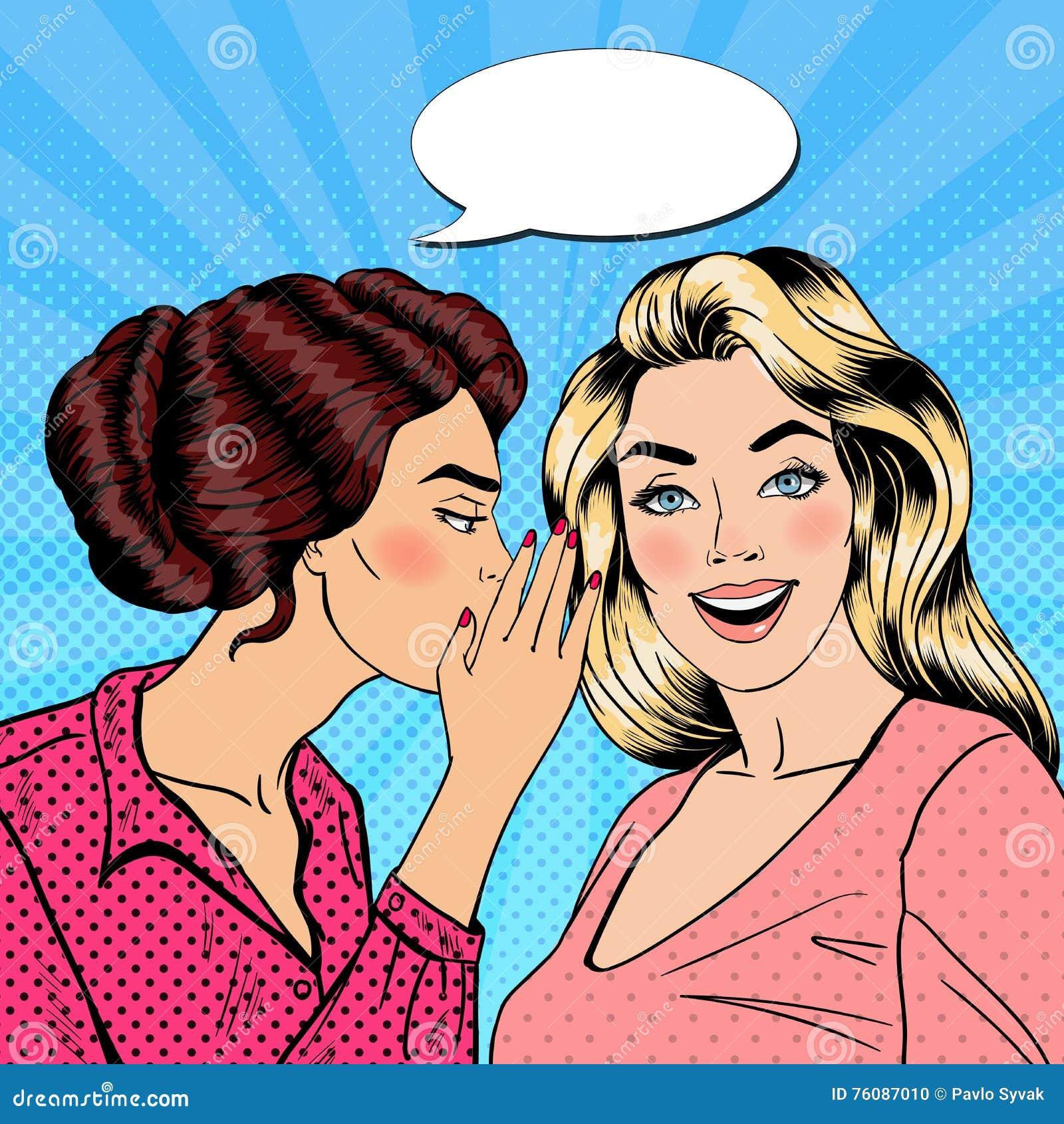 Secret de chuchotement de jeune femme à son ami Art de bruit