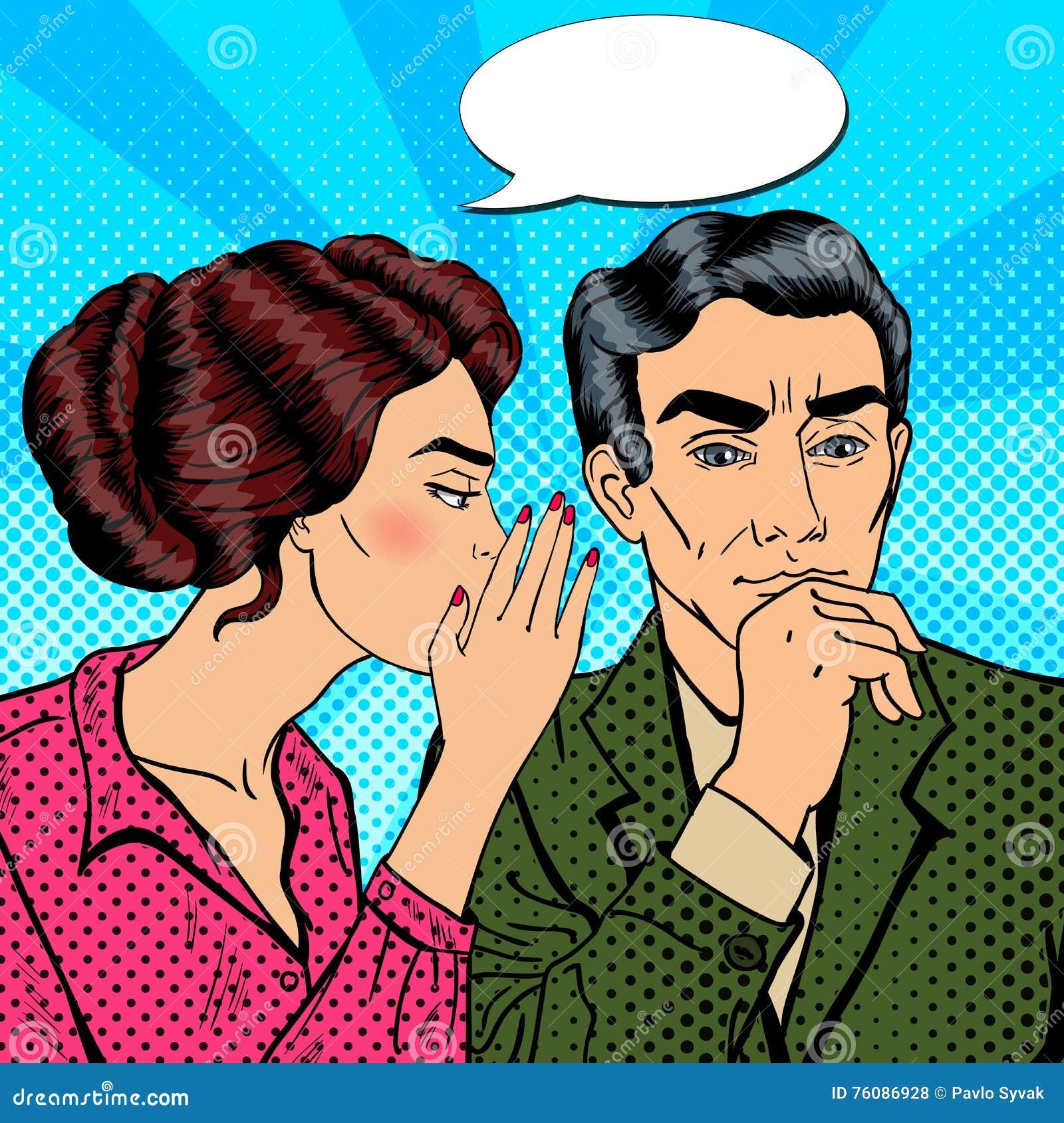 Secret de chuchotement de jeune femme à son mari Art de bruit