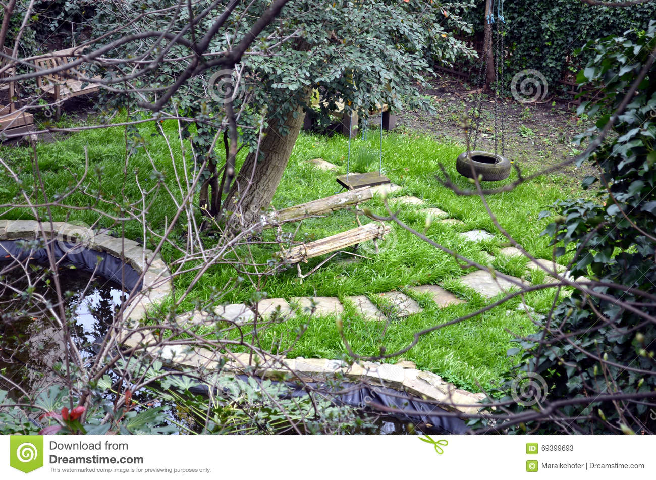 Cool Secret English Garden With A Bench Stock Image Image Of Andrewgaddart Wooden Chair Designs For Living Room Andrewgaddartcom