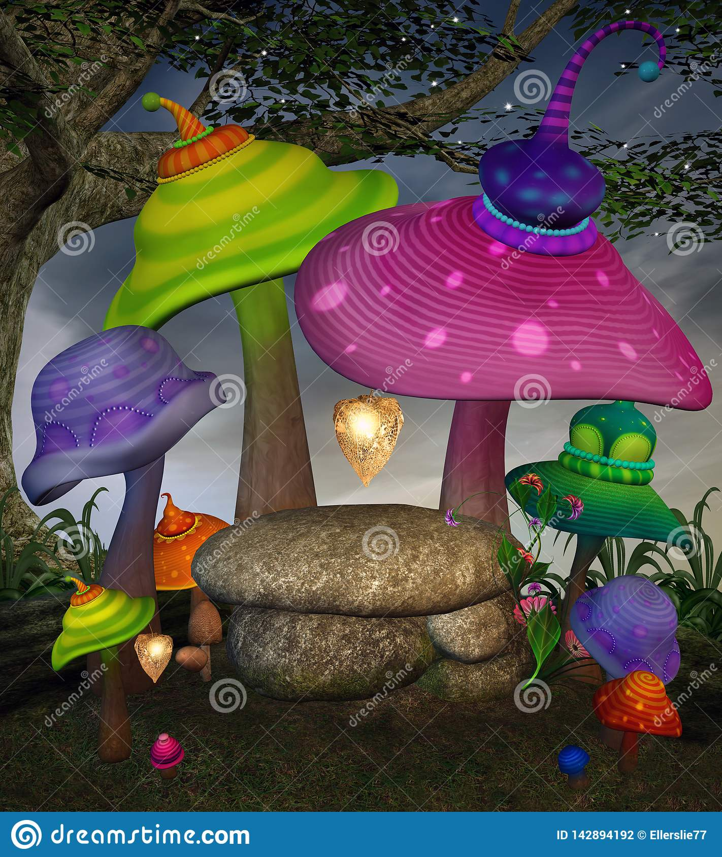 Colorful fantasy mushrooms in the enchanted forest