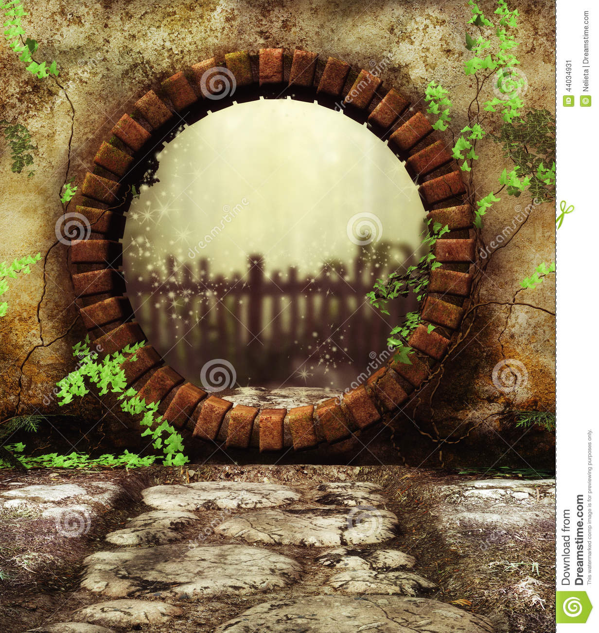 Secret garden Gate stock illustration. Illustration of doorway ...