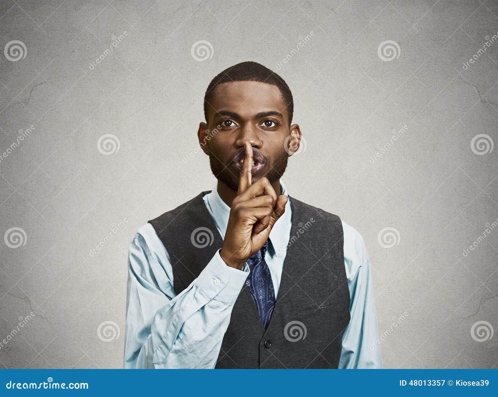 Secret Man, Finger On Lips Gesture Stock Image - Image of hushed