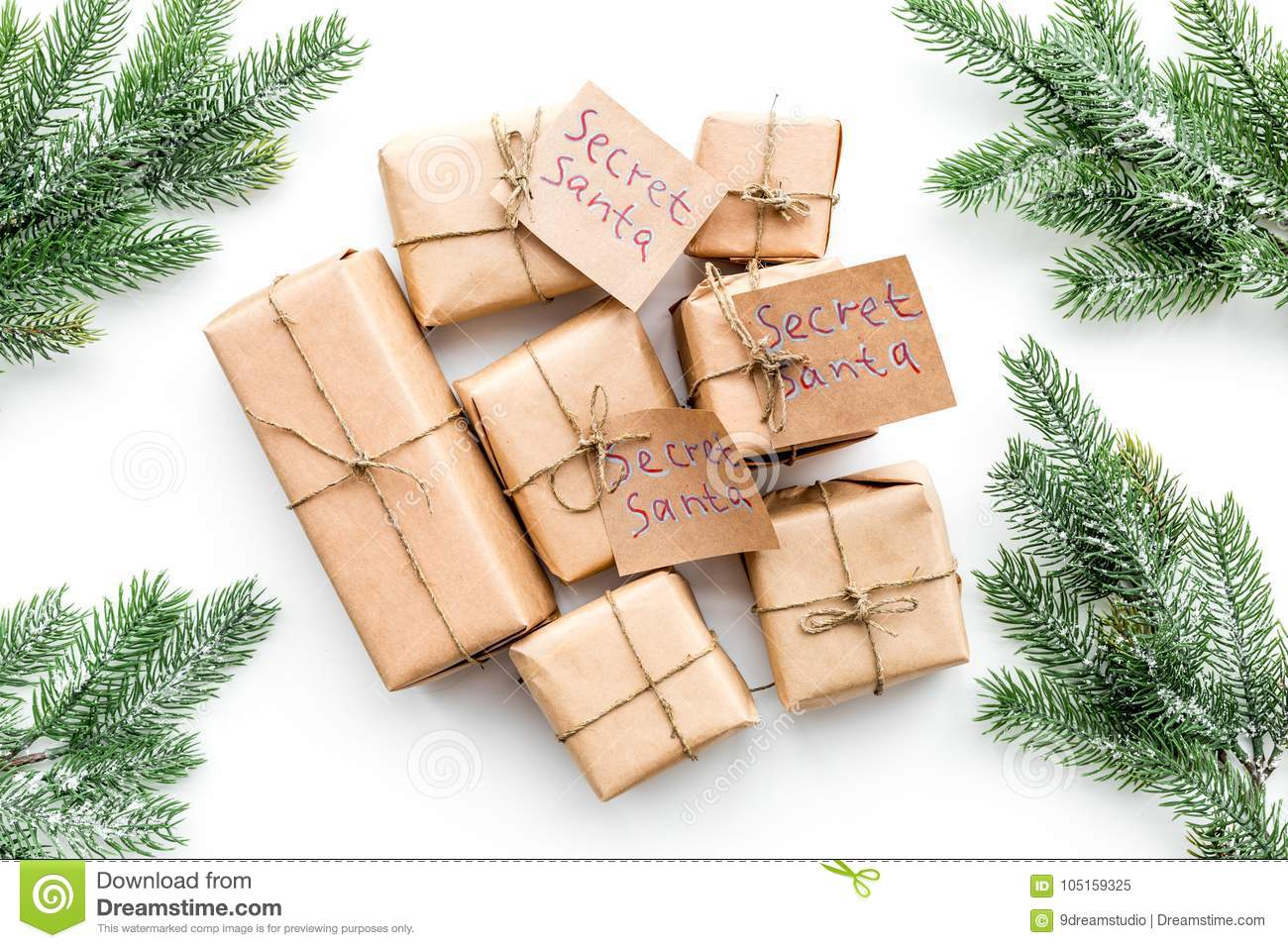 Secret Santa Christmas Game. Wrapped Gift Boxes With Handwritten ...