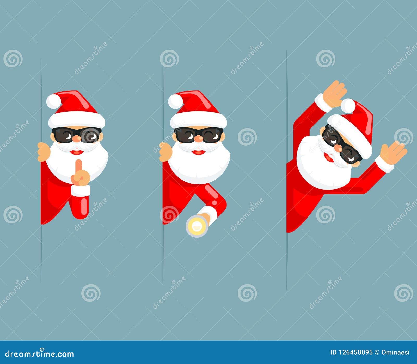 Secret santa greetings messages topsimages download secret santa claus flashlight peeking out corner surrender give up cartoon characters set flat design m4hsunfo
