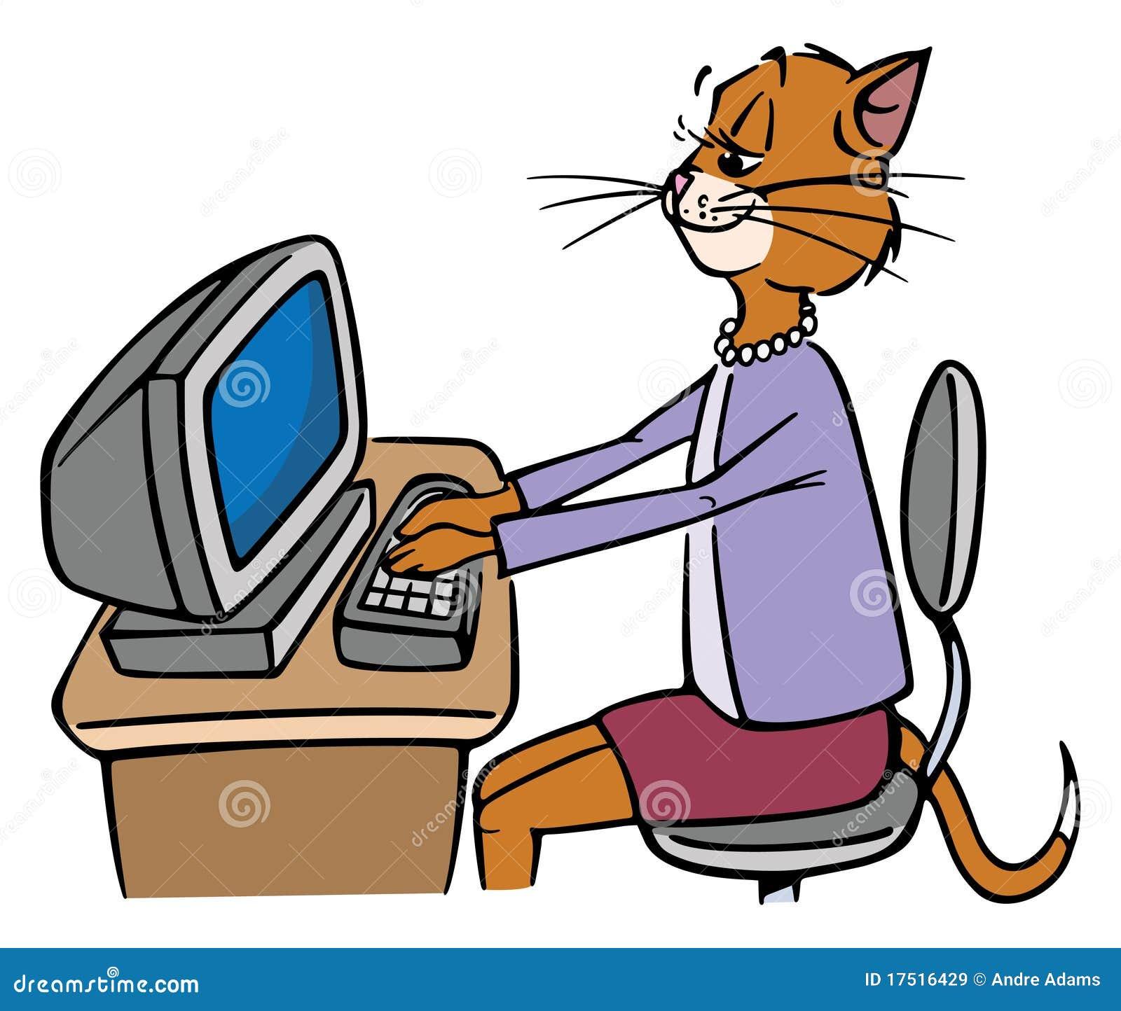 Secretary cat stock vector image of sexual receptionist Bureau blanc et noir