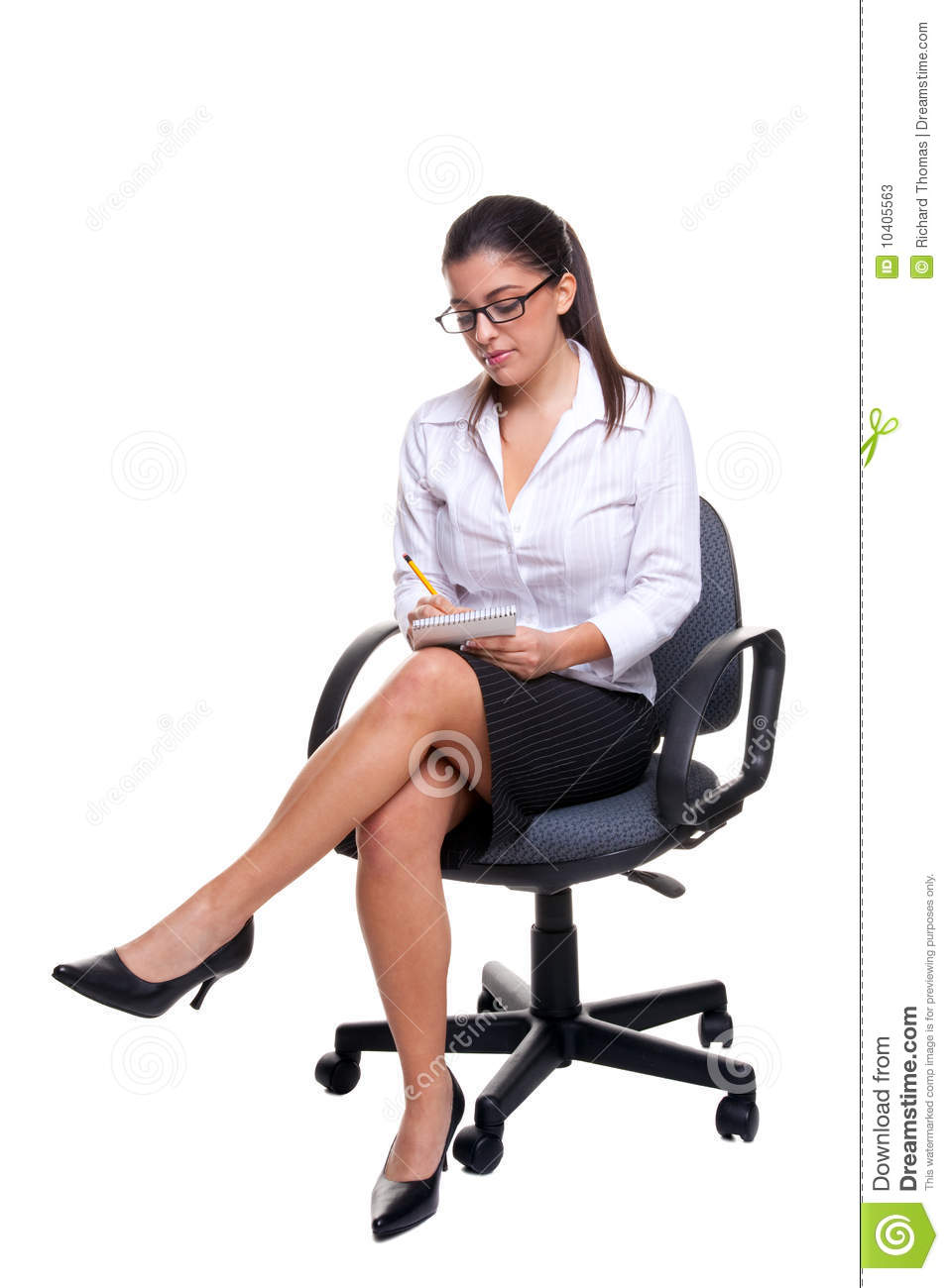 Secretary Sat On An Office Chair Taking Notes. Stock Photos - Image