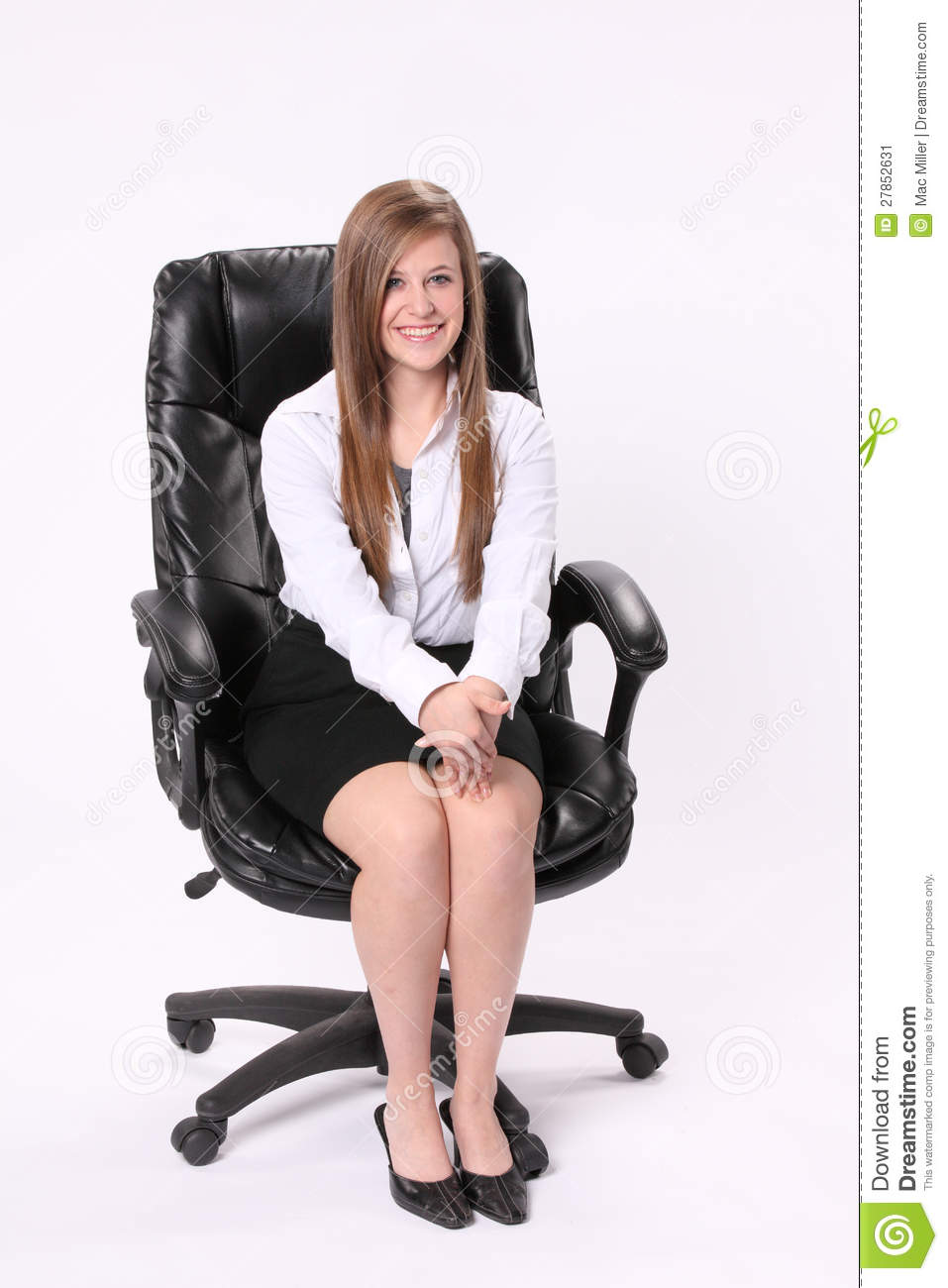 Secretary Sitting In Swivel Chair Stock Image Image
