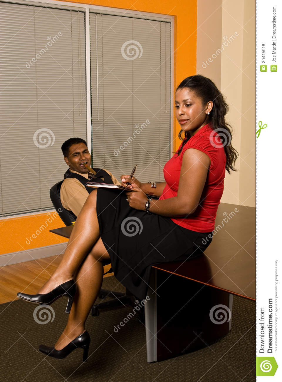 Secretary Taking Notes While Business Man Stares Royalty