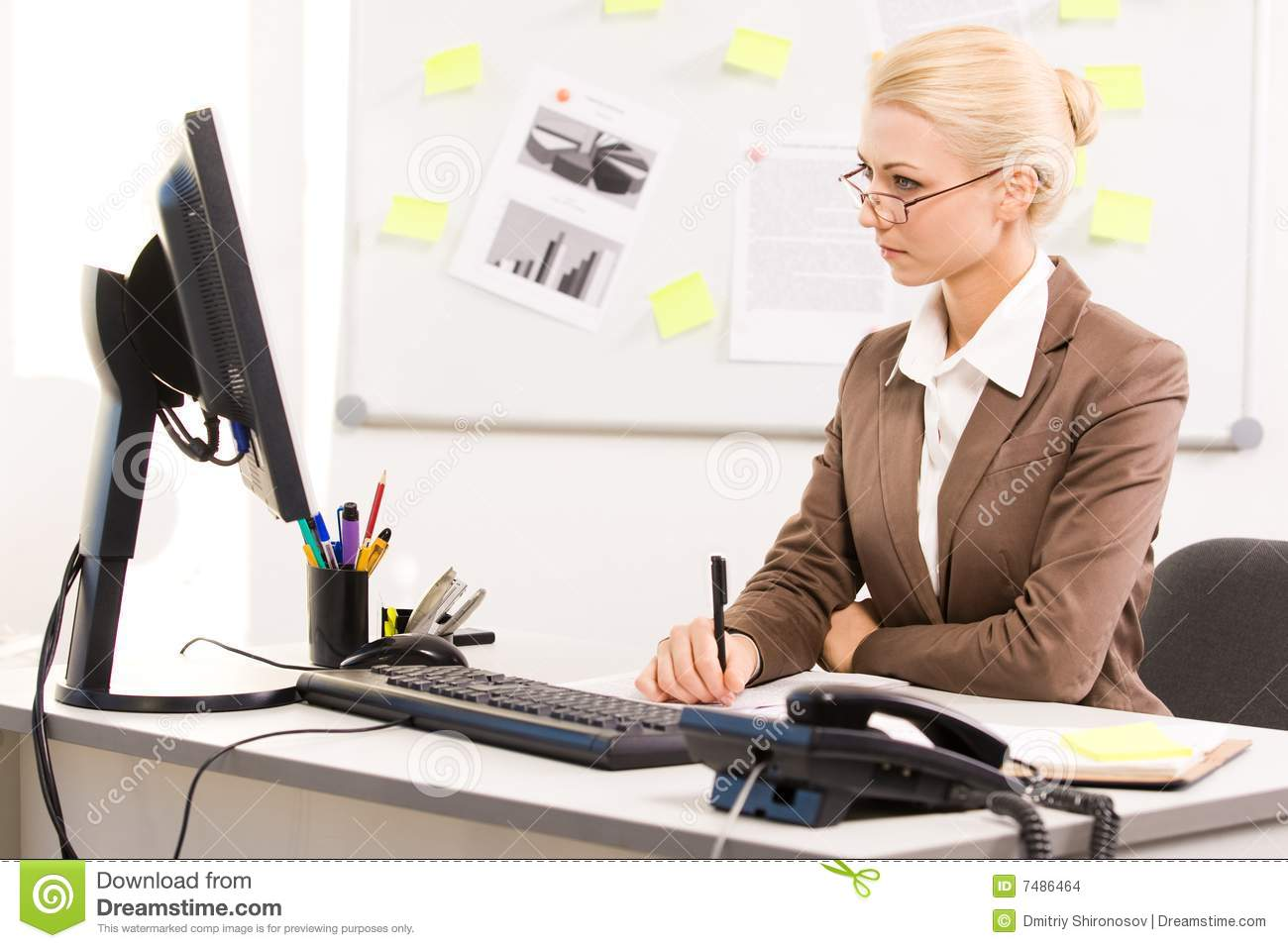 Secretary Working Stock Images Image 7486464
