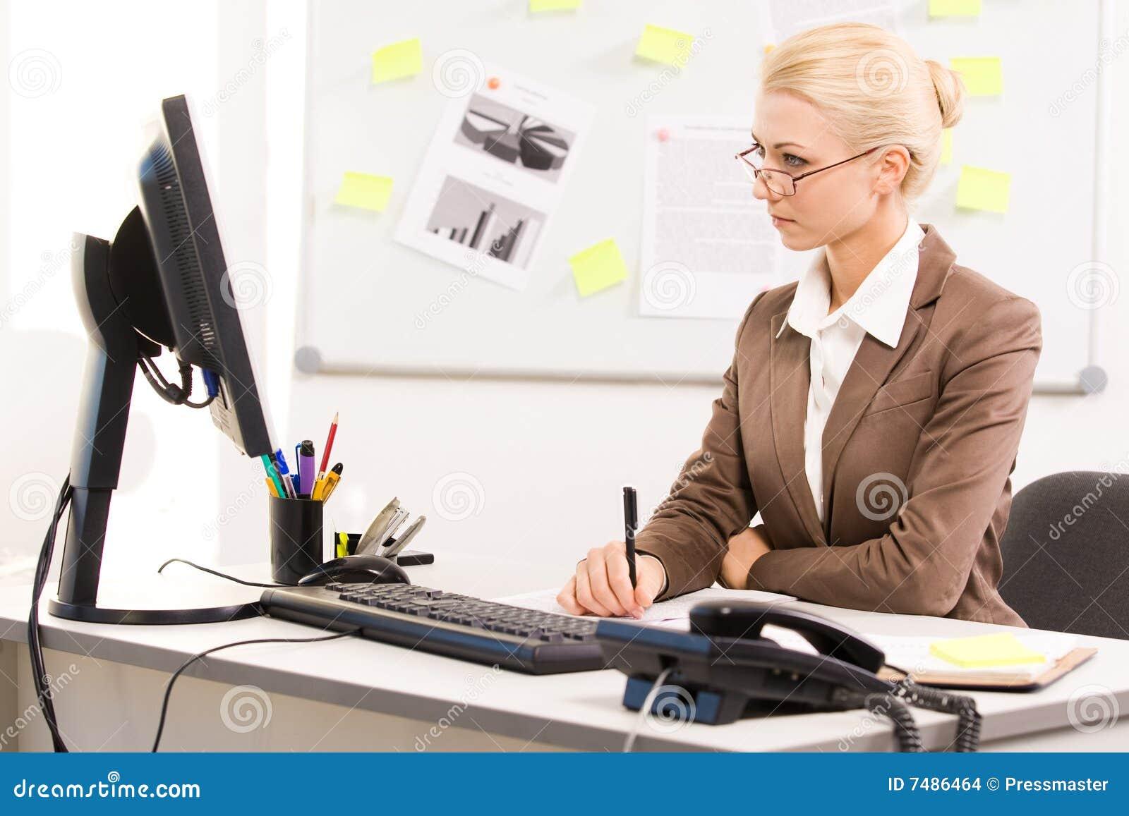 secretary working stock photo image of holding lady 7486464