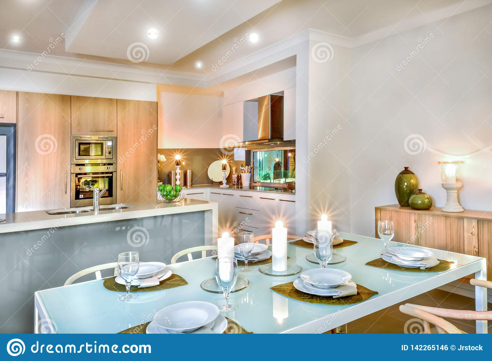 Luxury Dining Room And Kitchen Area Decorated With Flashing Candles For Ready To Serving Photo Stock Image Du Luxury Decorated 142265146