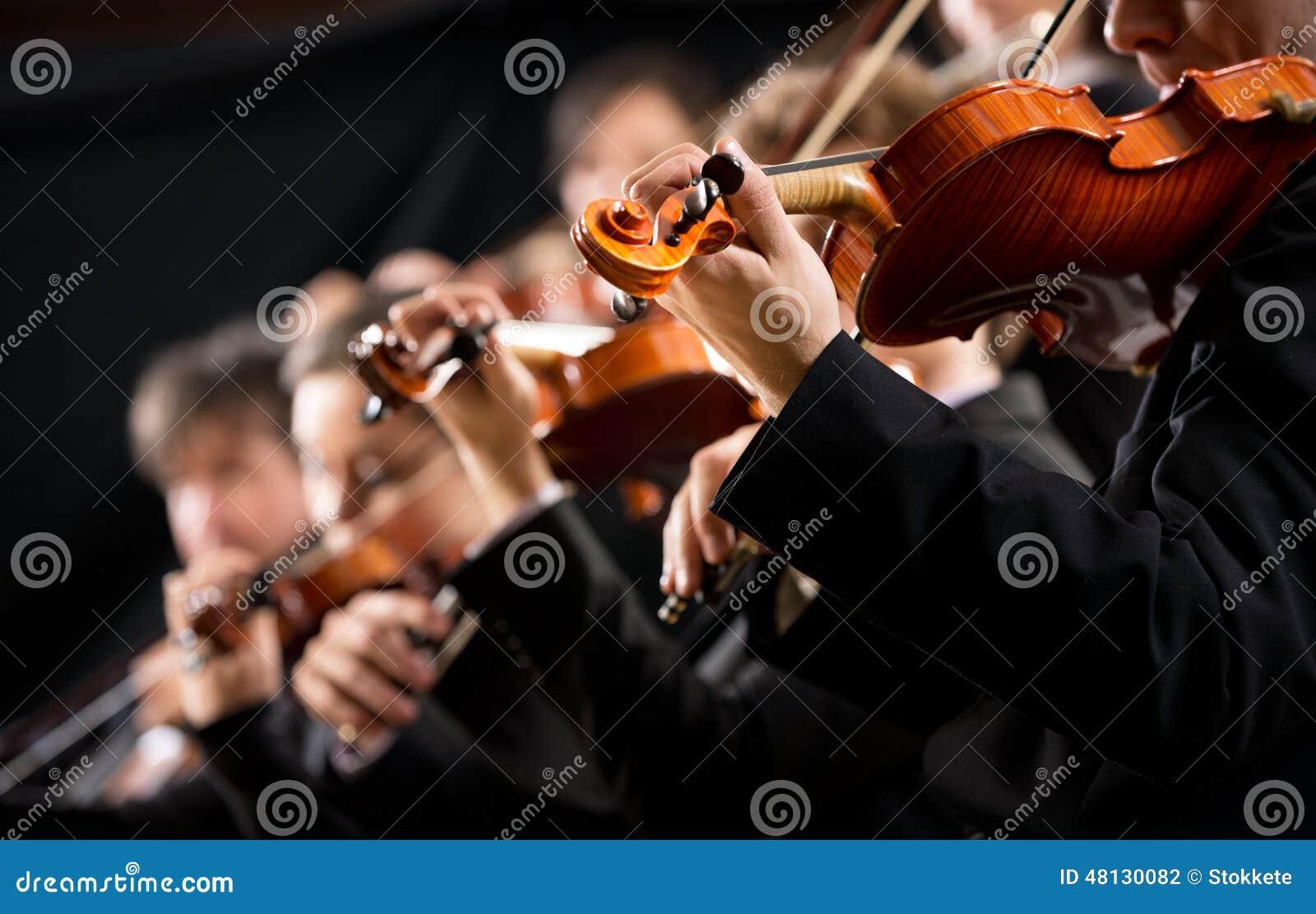 Sectie van de orkest de eerste viool