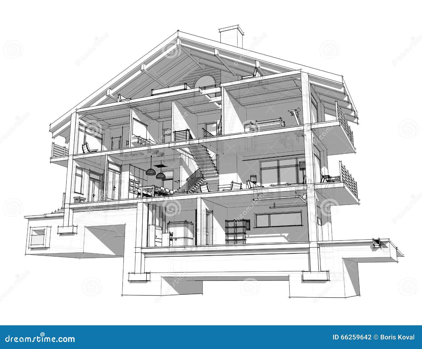 Section 3d d 39 une maison de campagne illustration stock for Une maison de campagne