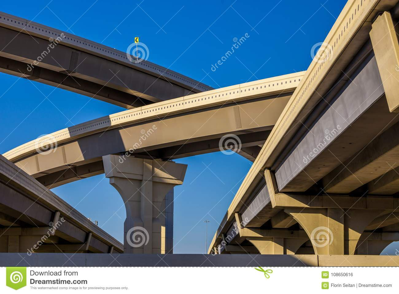 Blue Skies Of Texas >> Section Of Elevated Highway With Several Levels Against A