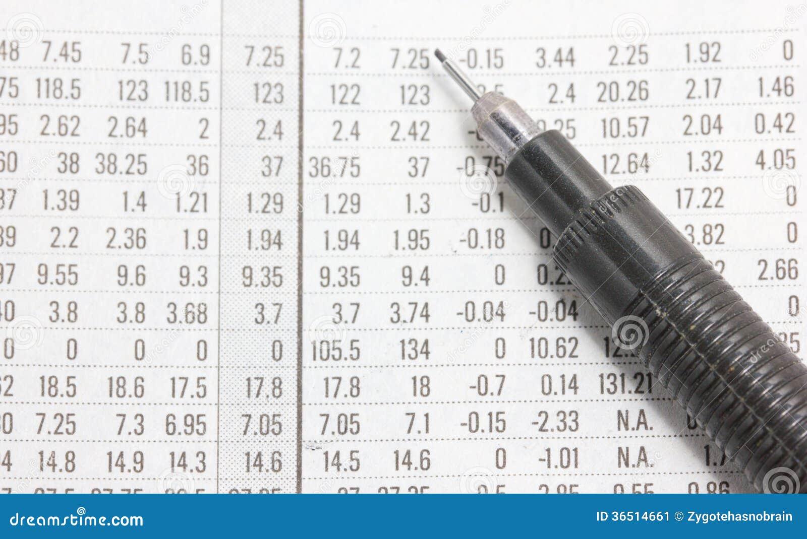 Section financière avec le crayon automatique.