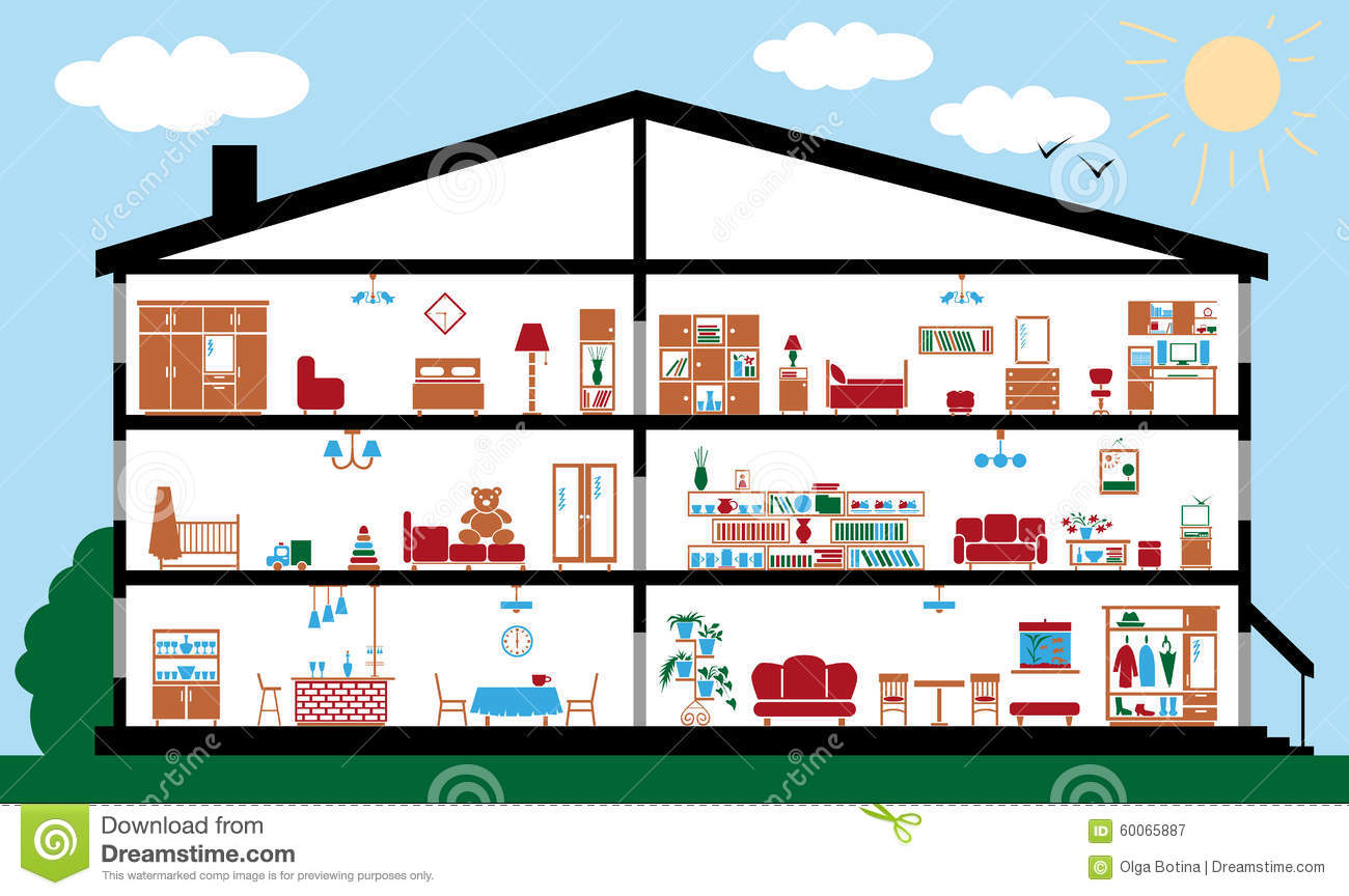 Section of interior house. Section of interior house stock vector  Image of design   60065887