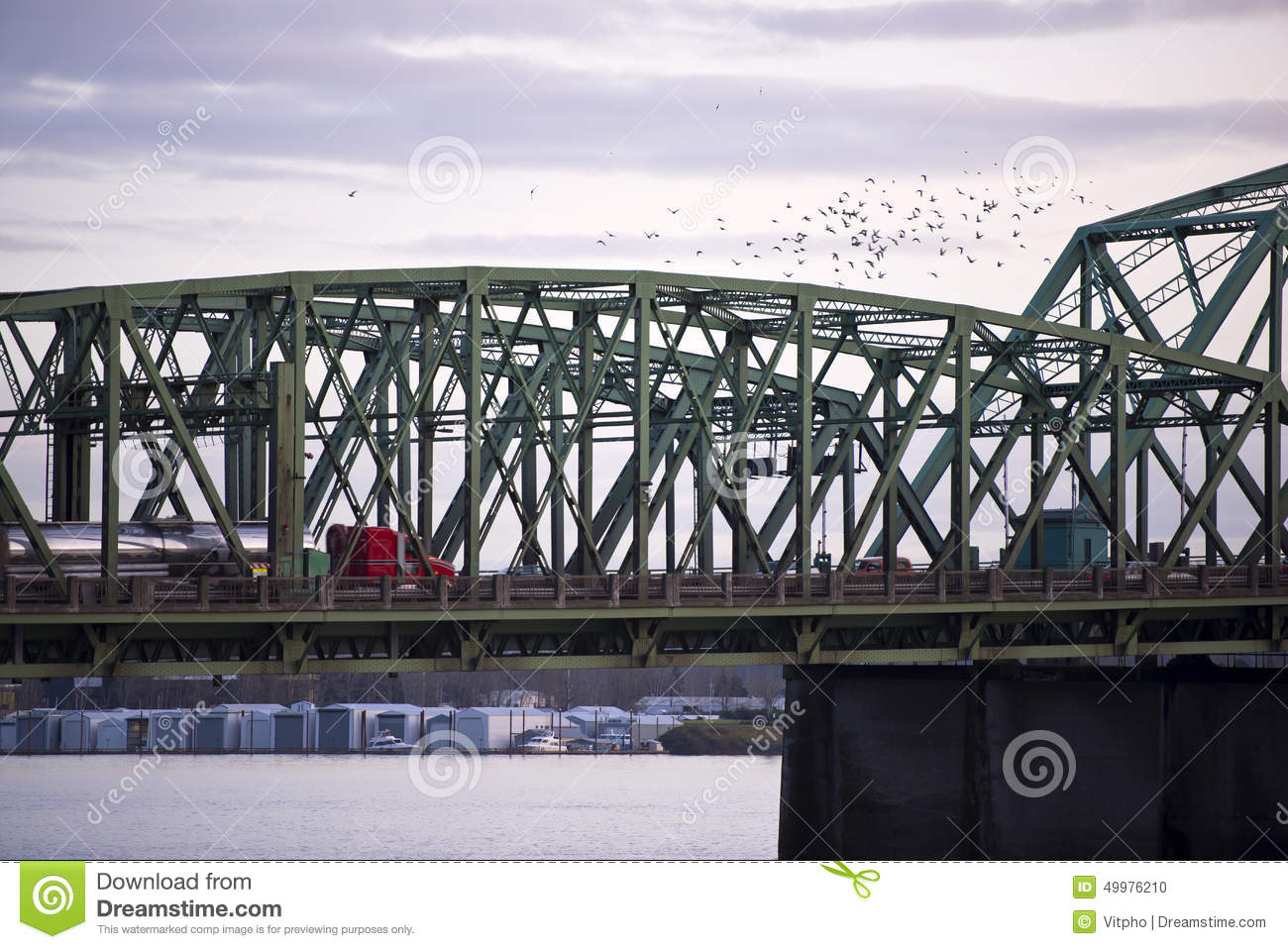 Section Structure Arch Bridge With Truck And Flock Of