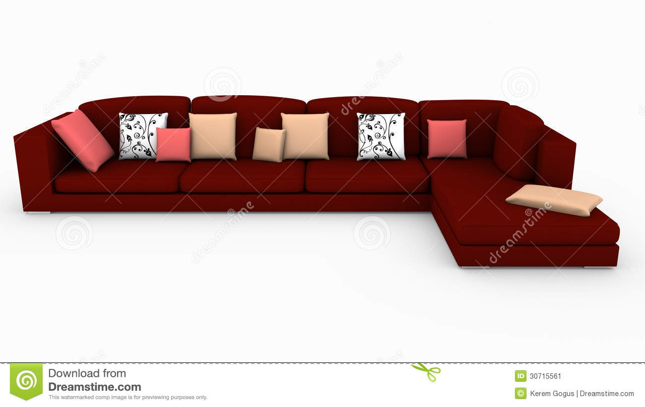 Sectional Red Sofa Stock Illustration Illustration Of