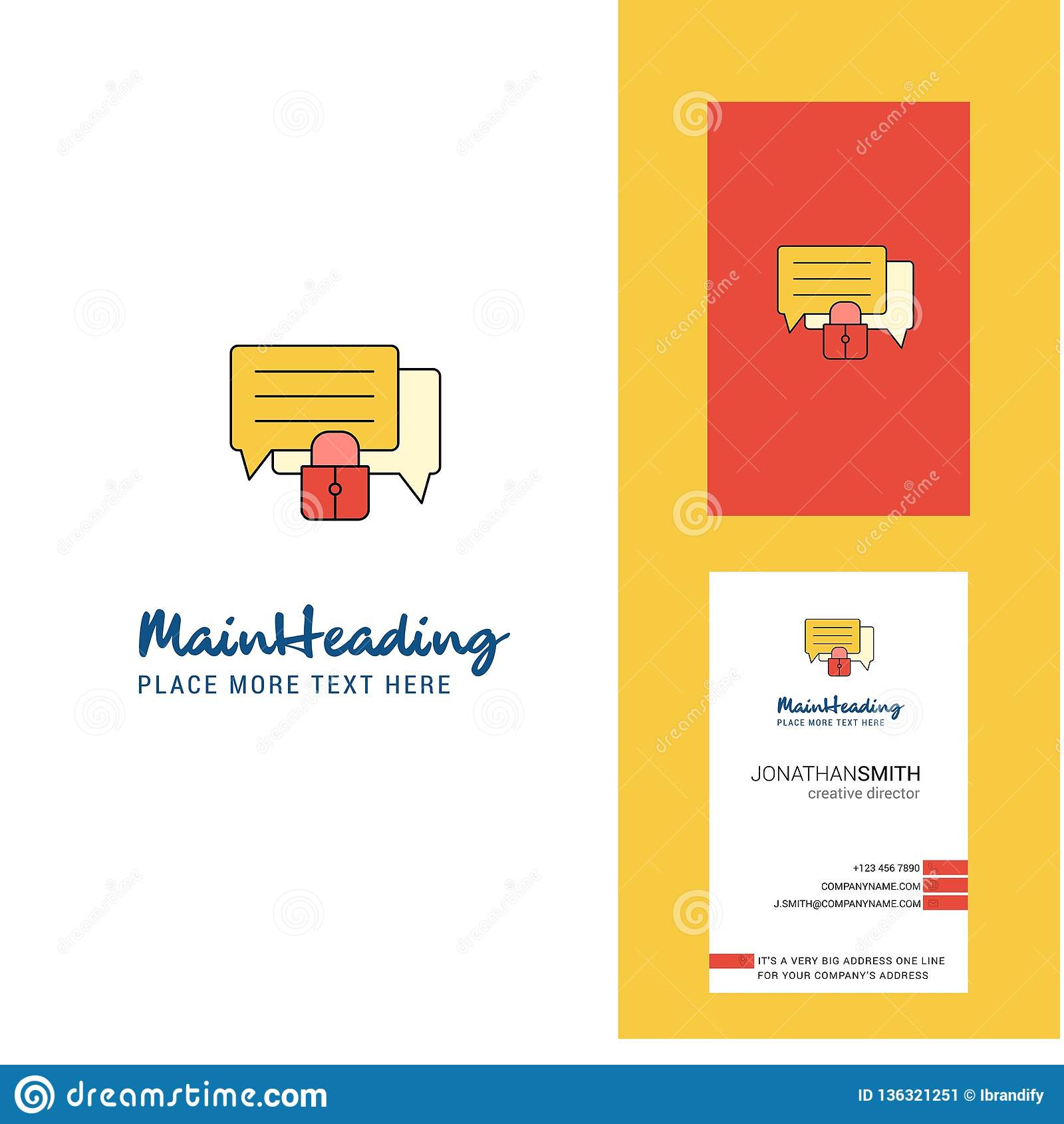 Secure Chat Creative Logo And Business Card Vertical Design