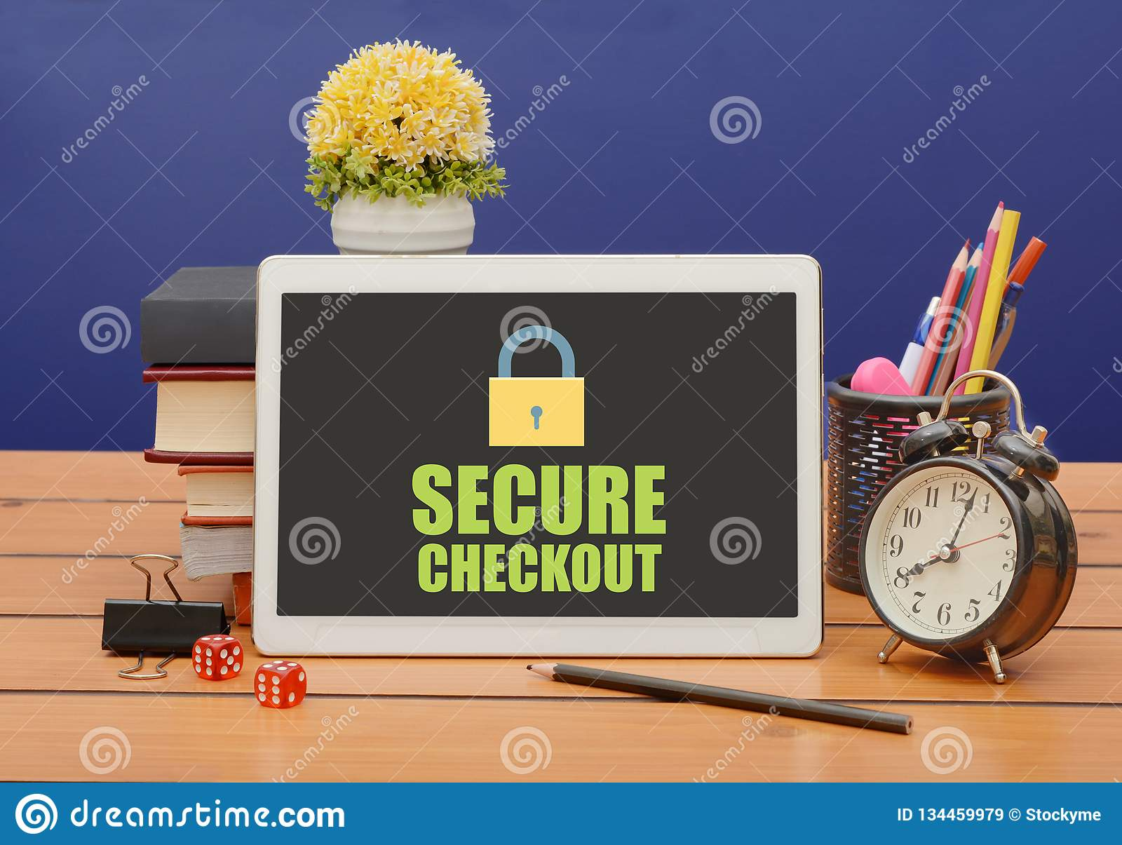 Secure checkout sign with lock icon on tablet
