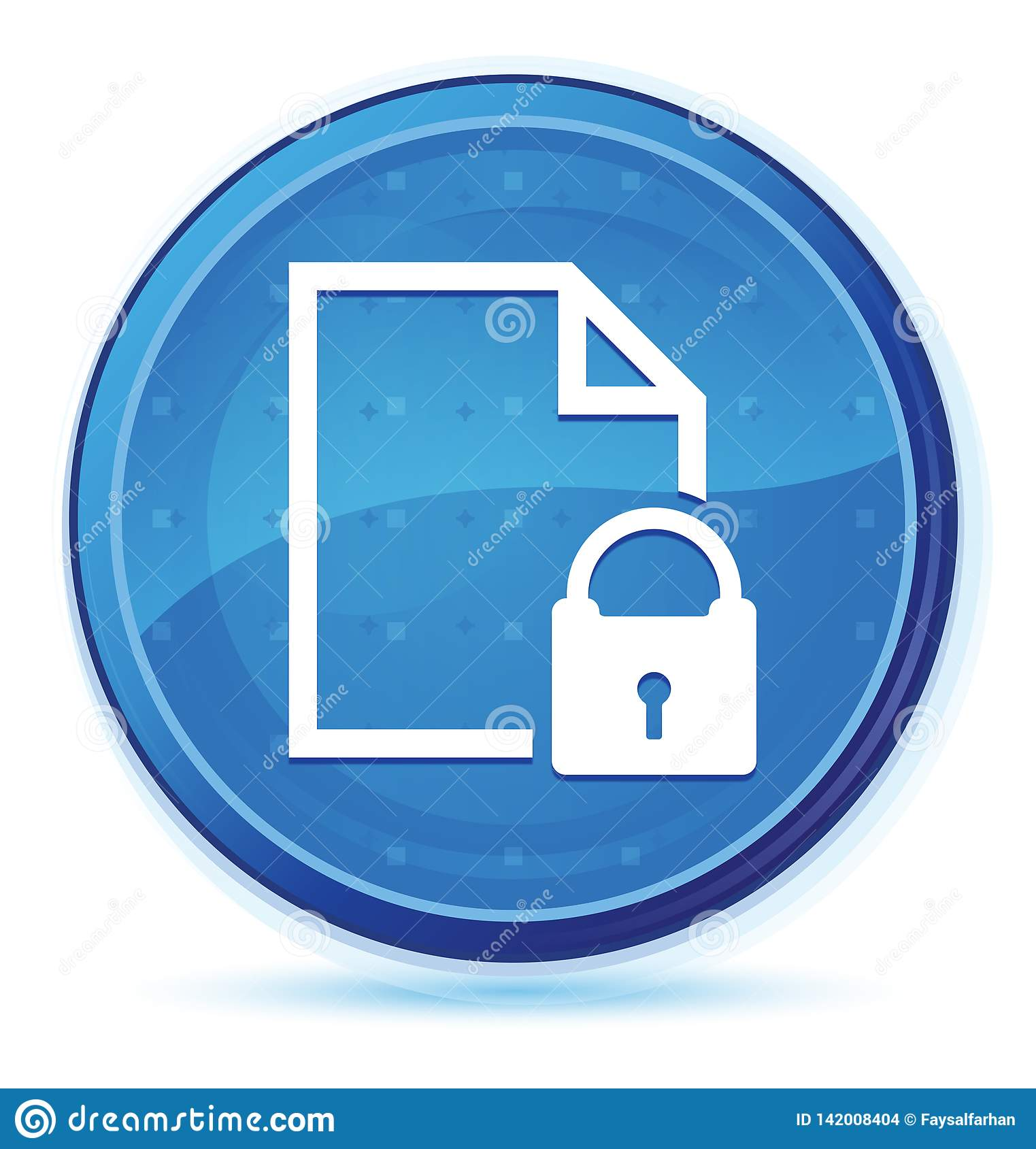 Secure document icon midnight blue prime round button