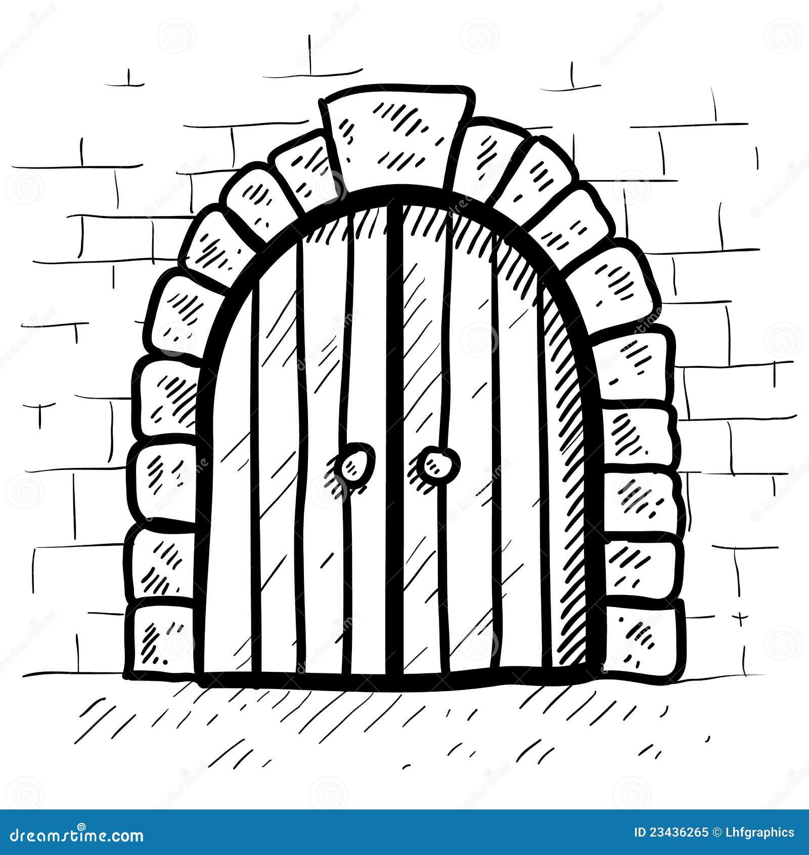 Secure Door Sketch Stock Vector Illustration Of Medieval