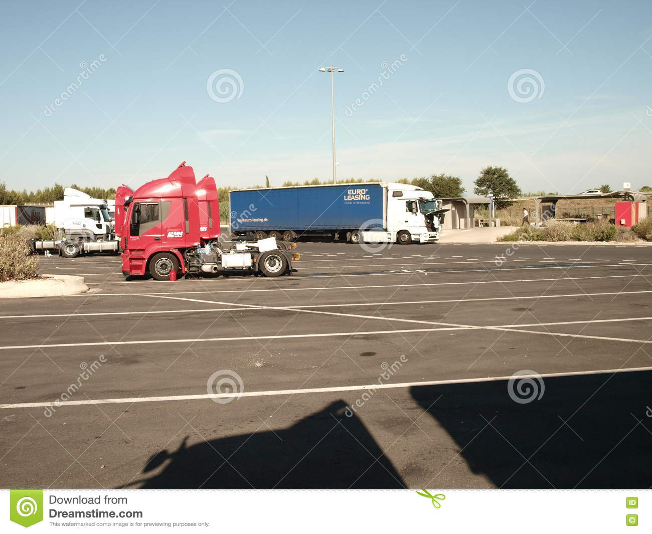 SECURE TRUCK AND TRAILER TRANSPORT PARK Editorial Image - Image of