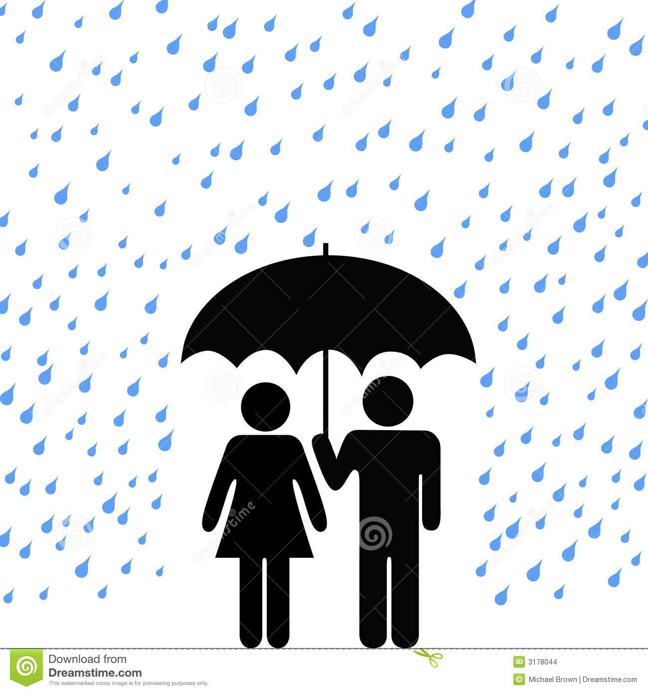 Secure Umbrella Couple Rain Stock Vector