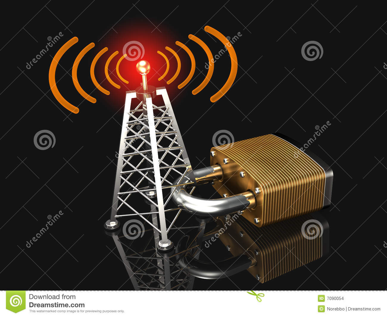 Secure Wireless Network Stock Illustration  Illustration