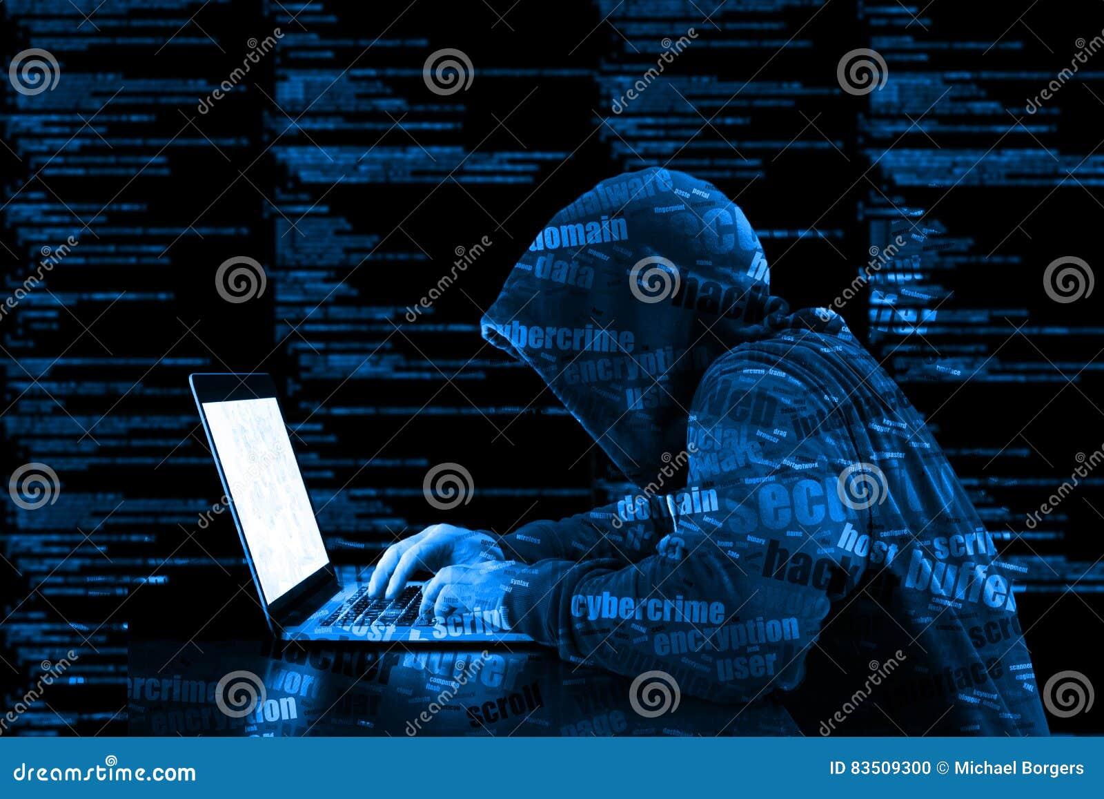 Securi azul de la información del código de ordenador del cybersecurity del pirata informático de la sudadera con capucha